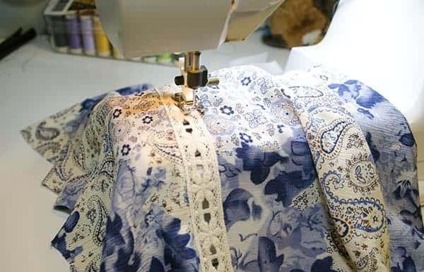 Rhapsody sewalong lace insertion DIY