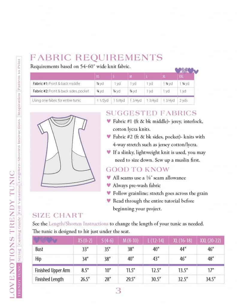 Trendy Tunic size chart and fabric requirements