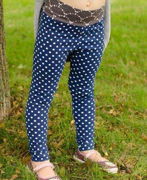 Free leggings pattern for girls 2T-14 with yoga or elastic