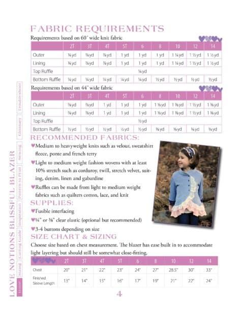 Love Notions Blissful Blazer PDF Pattern