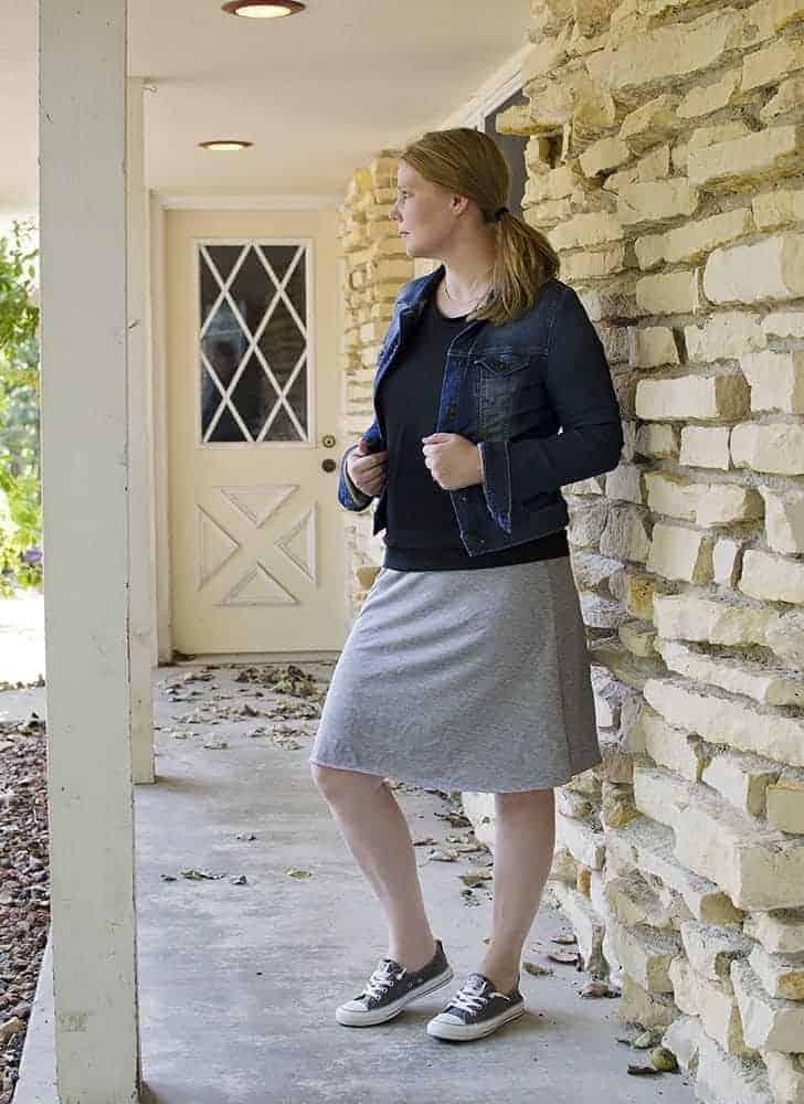 knit skirt + tee + jean jacket