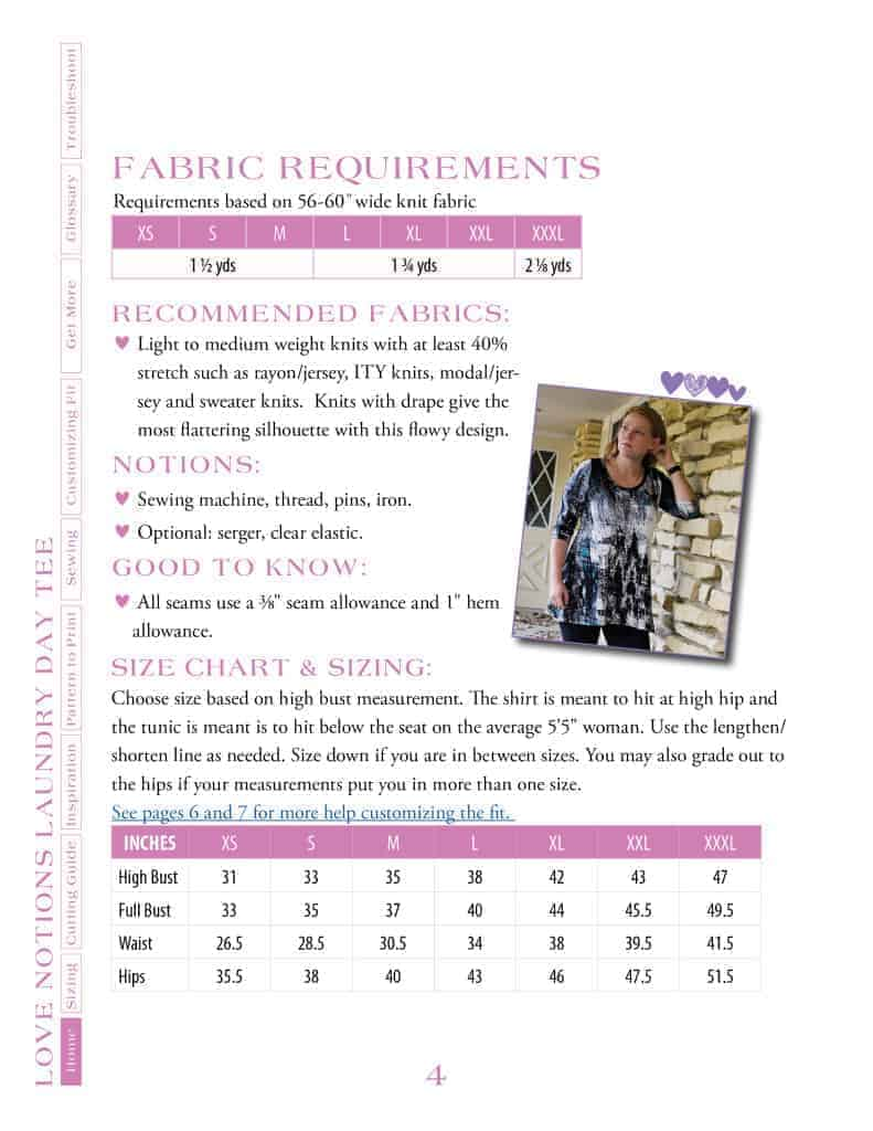 Ladies LDT fabric requirements and size chart