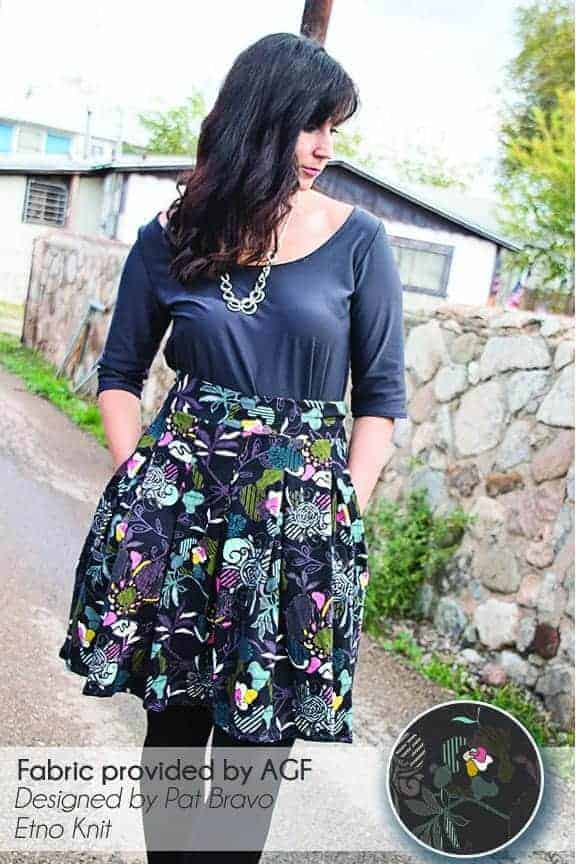 Pleated skirt in Pat Bravo's Stitched Anthomania in Deep