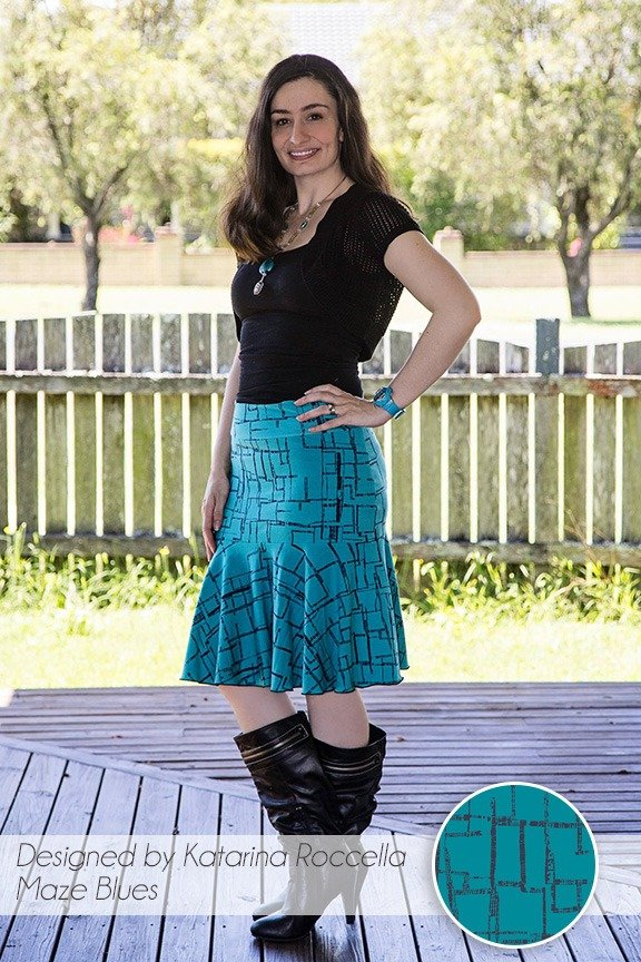 Drop Swing Skirt in Maze Blues by Katarina Roccella