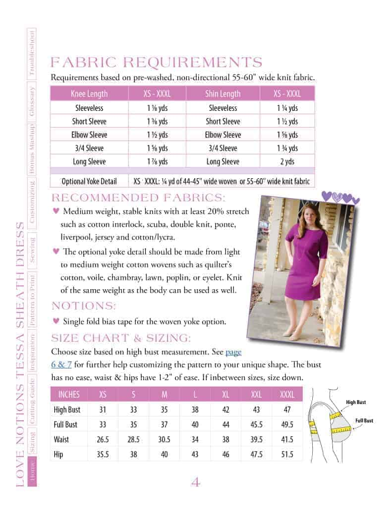 Tessa Sheath Dress size and fabric requirement charts