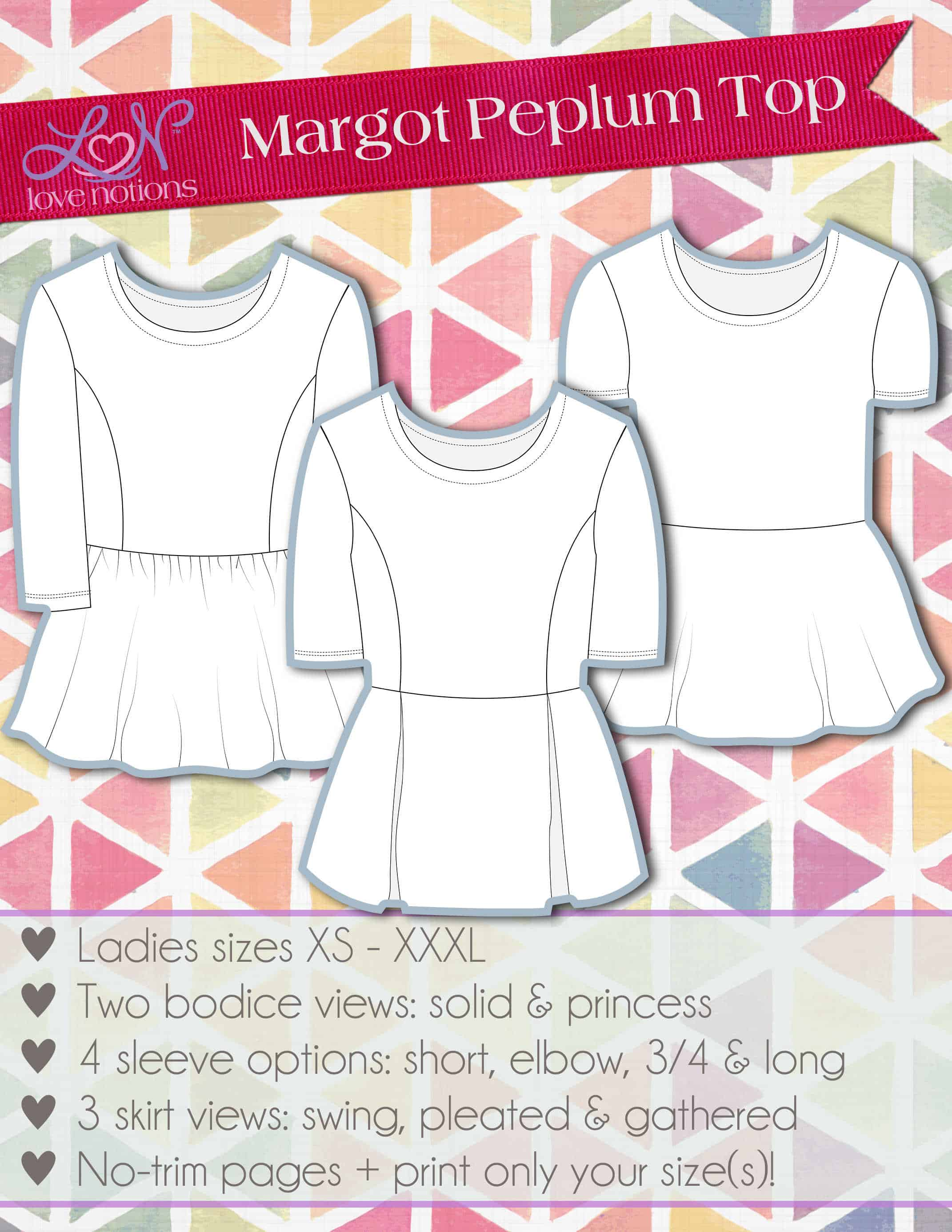 Princess seamed peplum top sewing pattern by Love Notions.