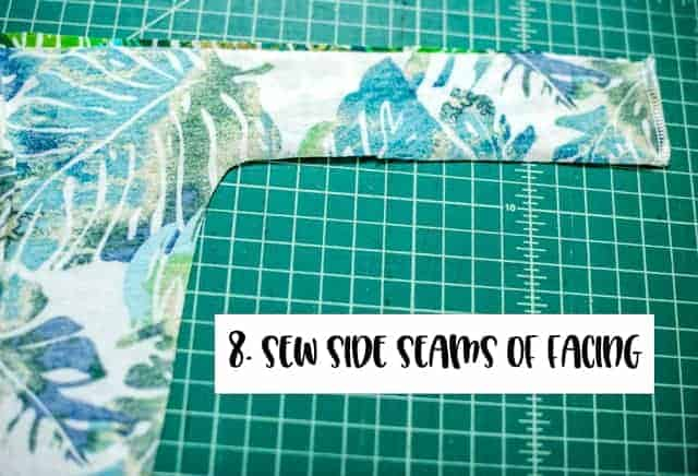 Sew facing front and back together