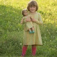 Doll and girl coordinating dress pattern