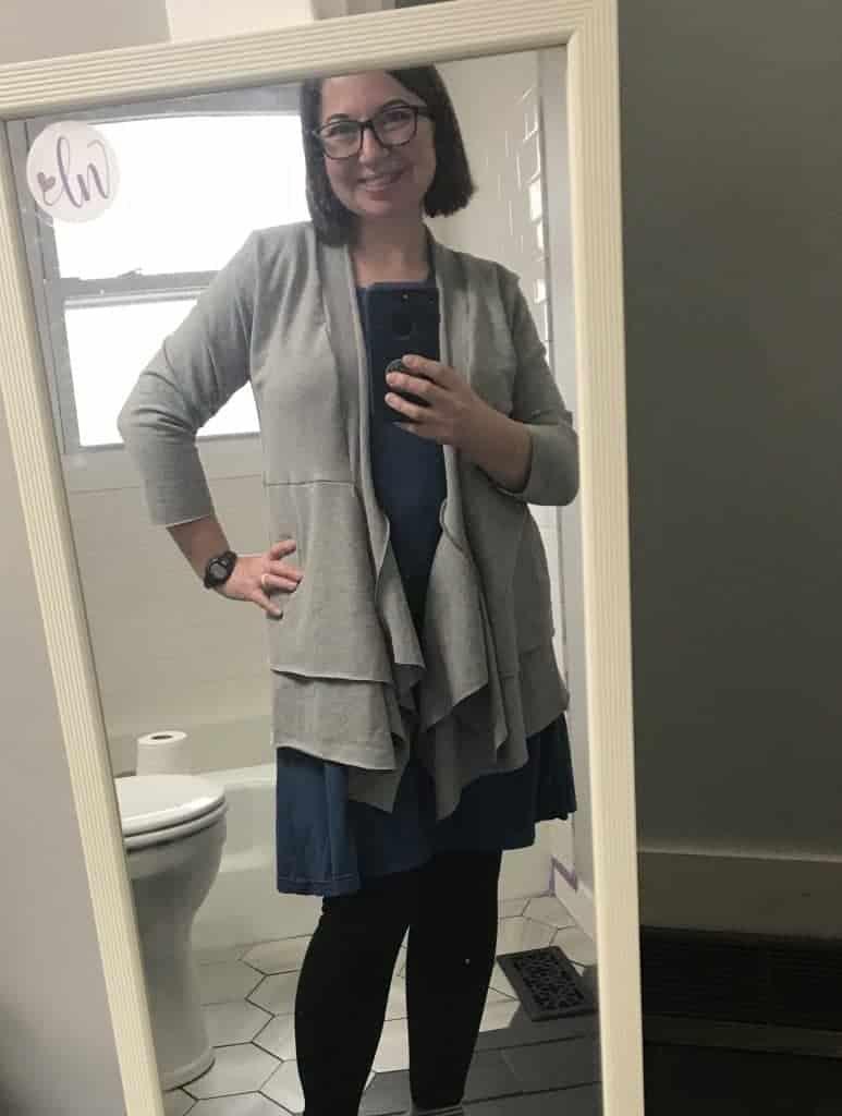 layered skirt cardigan
