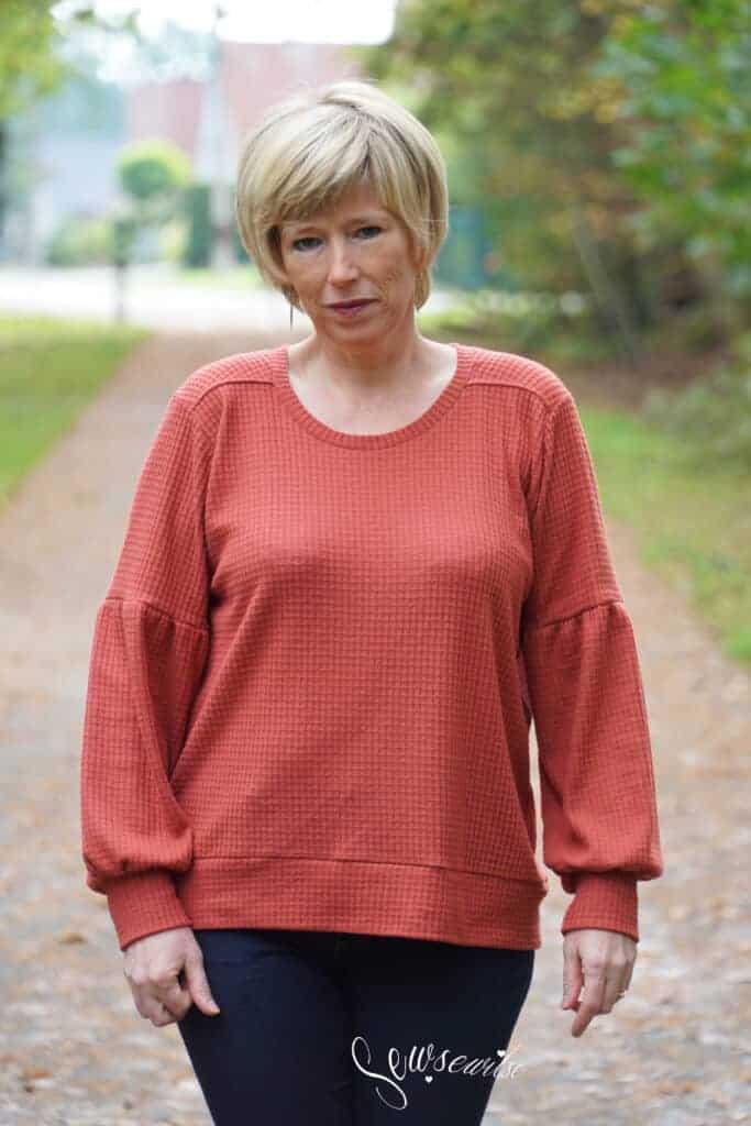 sloane sweater gathered sleeve