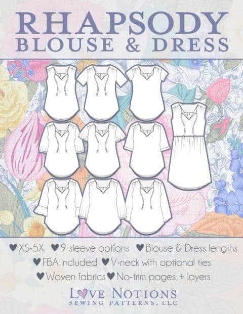 Rhapsody Blouse & Dress pdf pattern