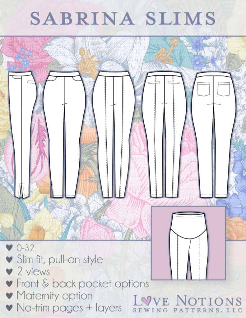 Slim fit pull-on pants sewing pattern