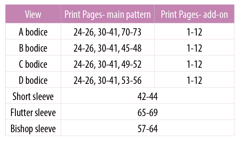 sonata print chart maternity