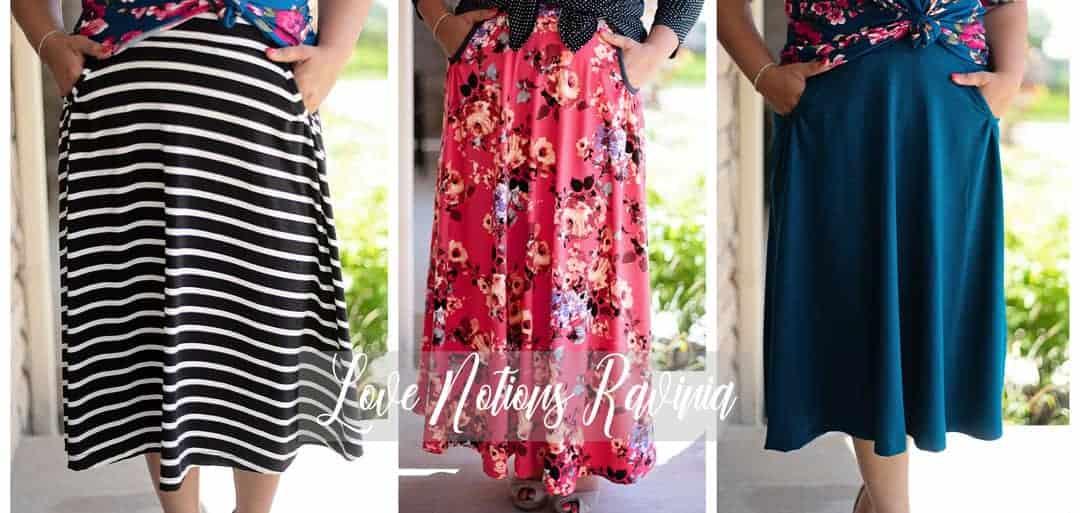 Love Notions Ravinia Skirt in three fabrics