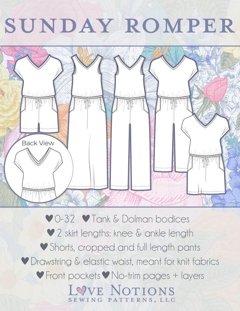 romper pdf pattern ladies