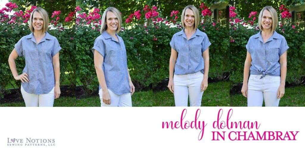 Melody dolman fabric chambray