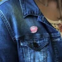 Fabric love enamel pin