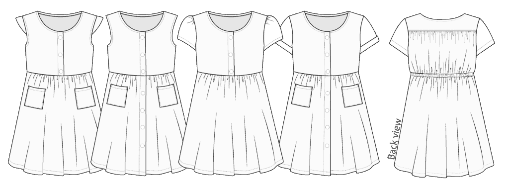 Dolce Dress line drawings