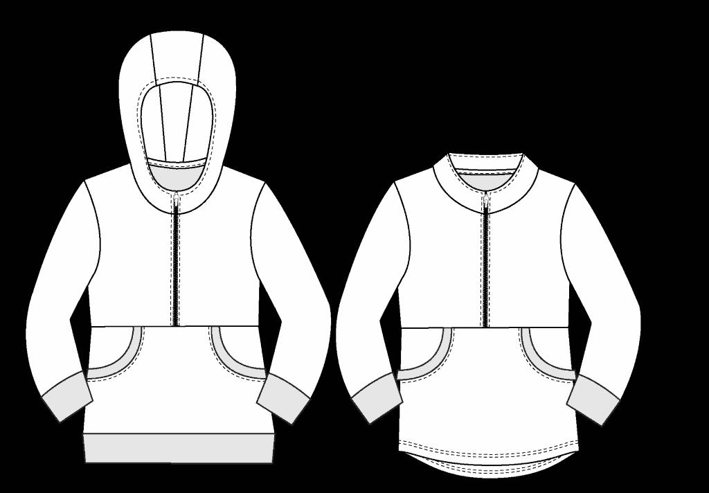 hoodie pdf pattern line drawing