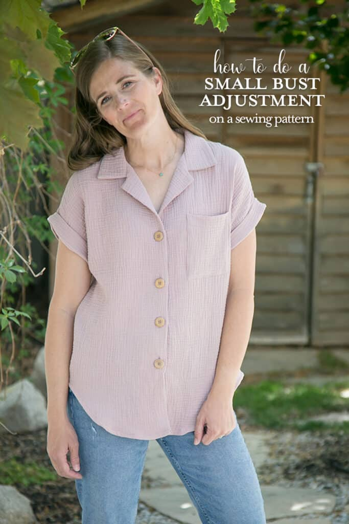 Learn how to do a small bust adjustment on a sewing pattern. Melody Dolman from Love Notions PDF sewing patterns.