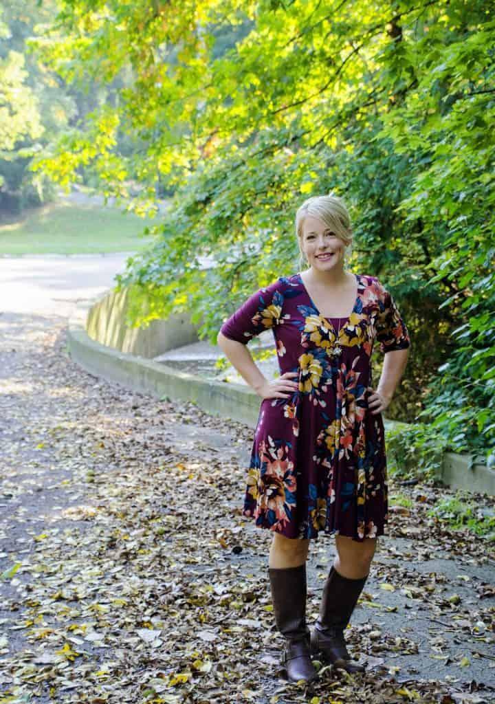 View B dress length with mid-length sleeve